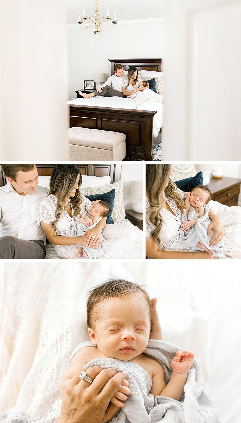 Dallas Lifestyle Newborn Session I Family in Bedroom
