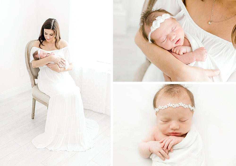Mom with newborn baby girl