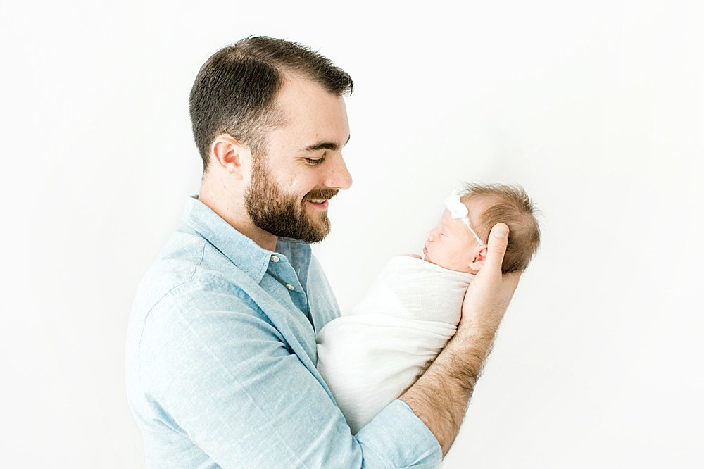 Dad looking at newborn baby