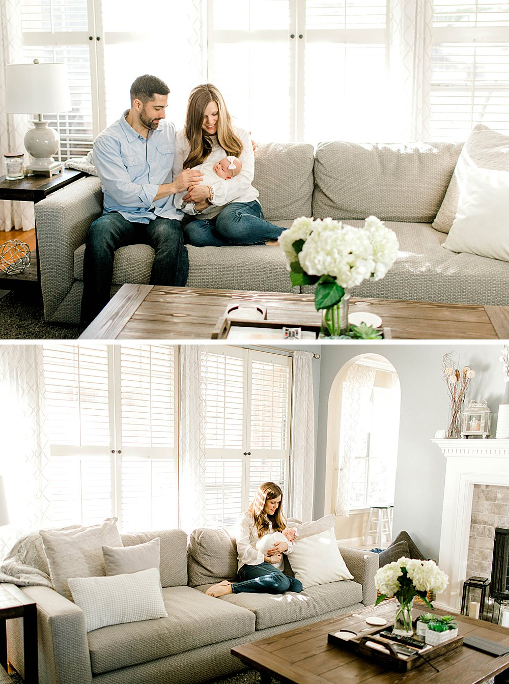 Lifestyle Photography Session I parents in living room with baby girl