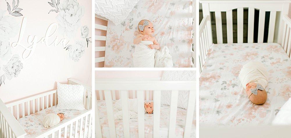 Newborn baby girl in crib