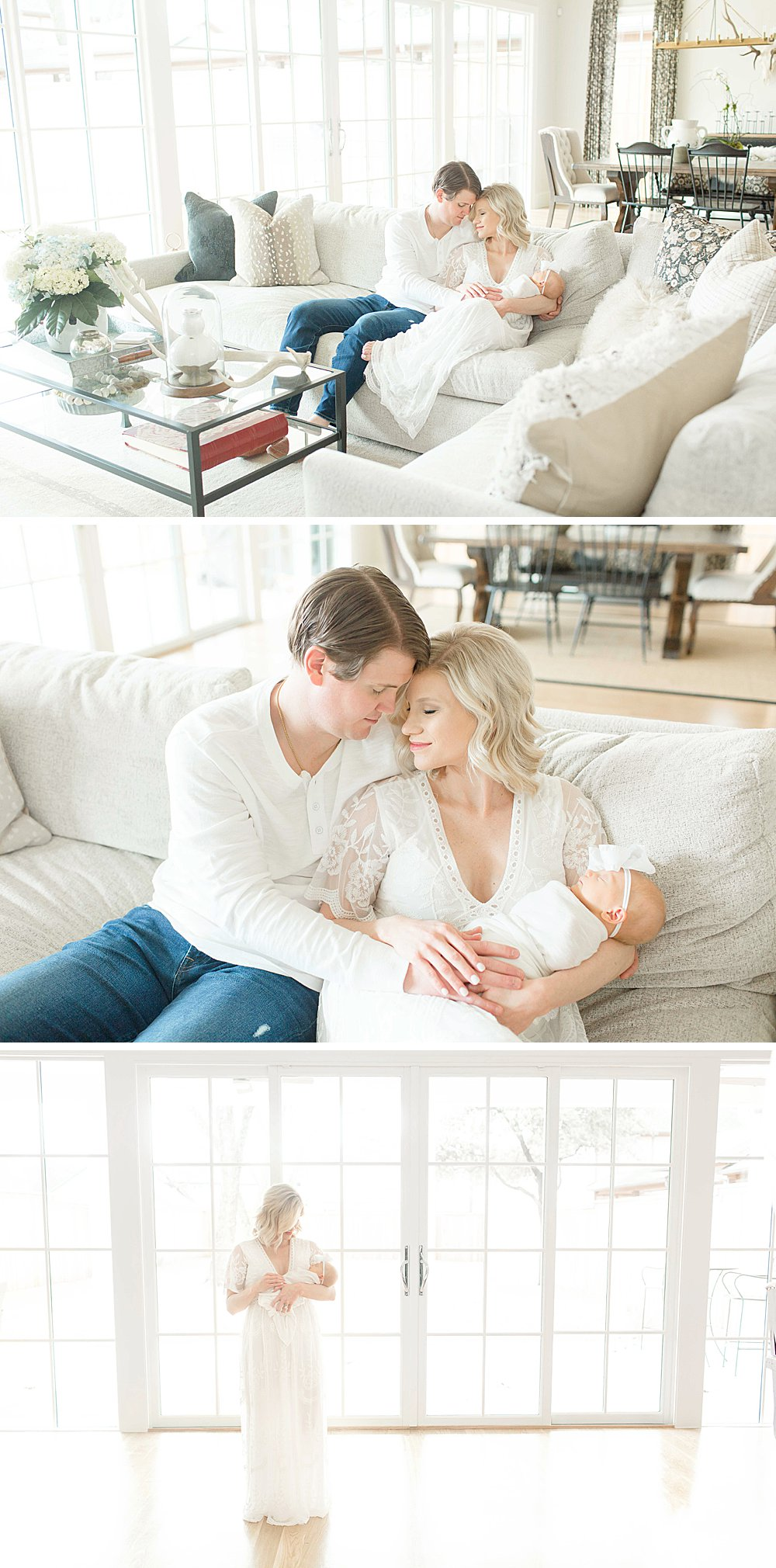 Lifestyle Newborn Session I Mom and Dad in living room