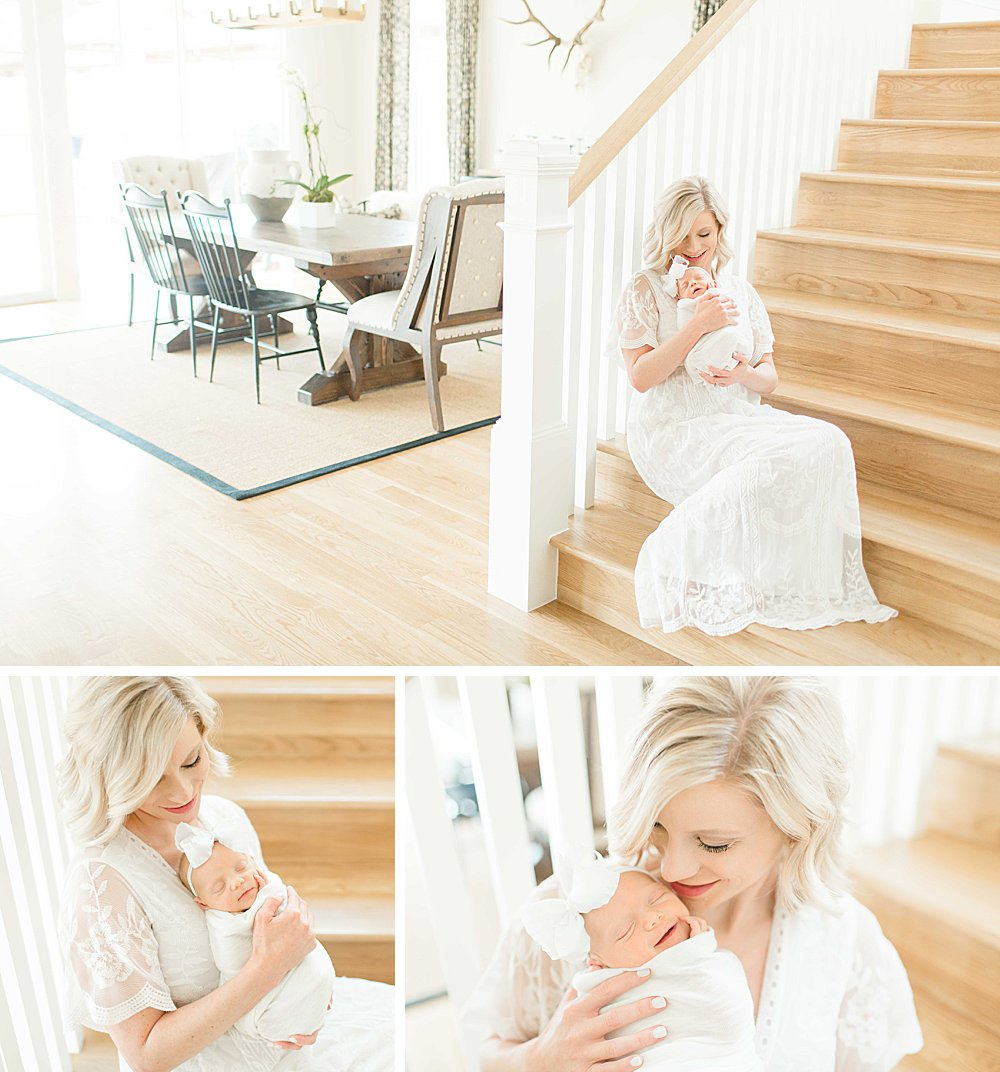 Lifestyle Newborn Session I Mom on stairs with baby girl