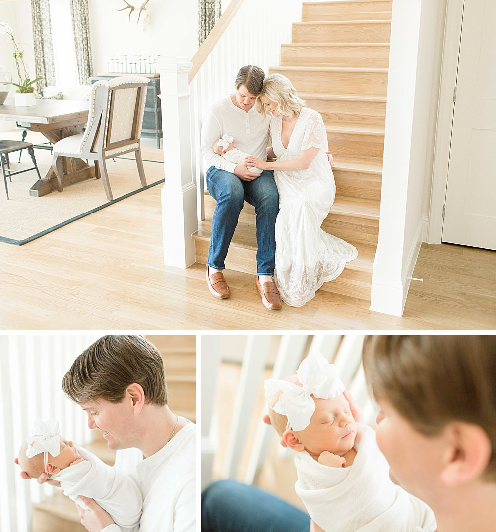 Lifestyle Newborn Session I Mom and Dad on stairs with baby girl