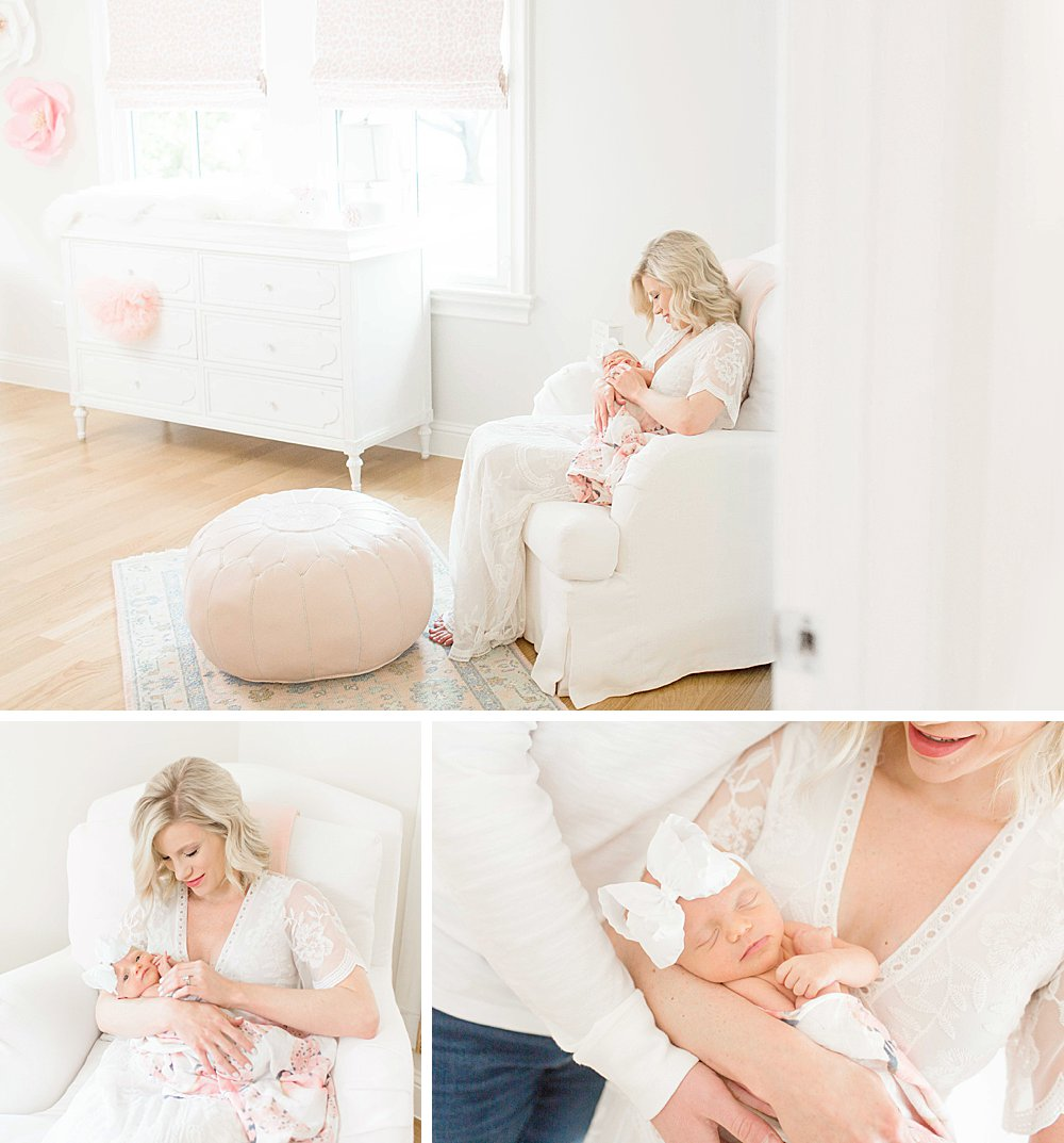Lifestyle Newborn Session I Mom in white nursery with baby girl