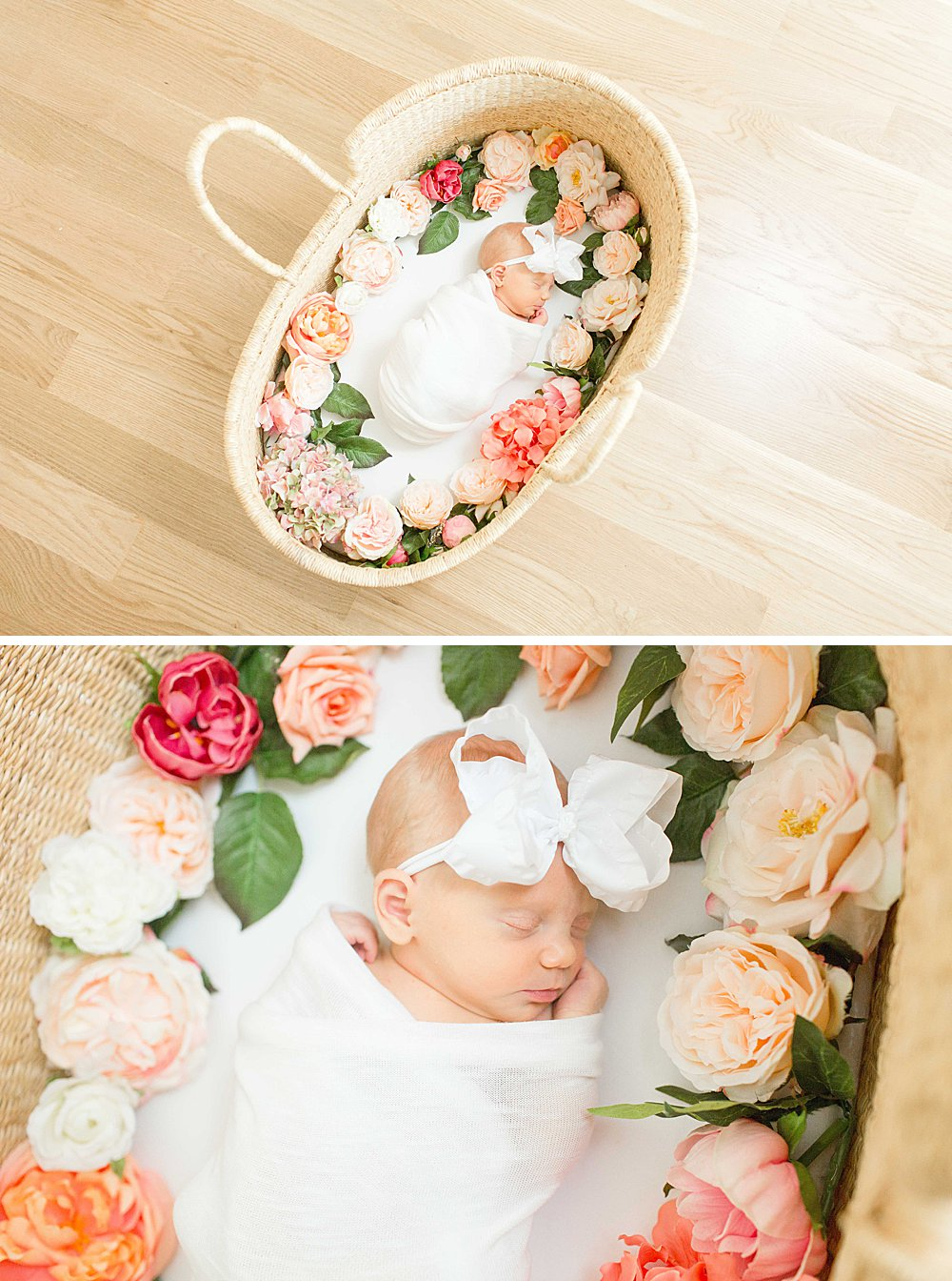 Newborn Photos I Baby girl in basket with flowers