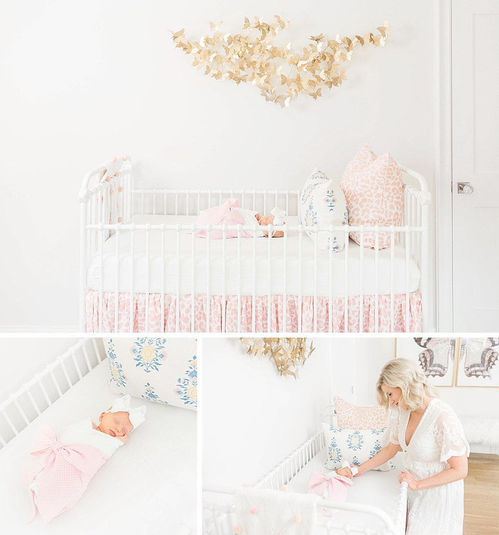 Baby girl in crib I Restoration Hardware