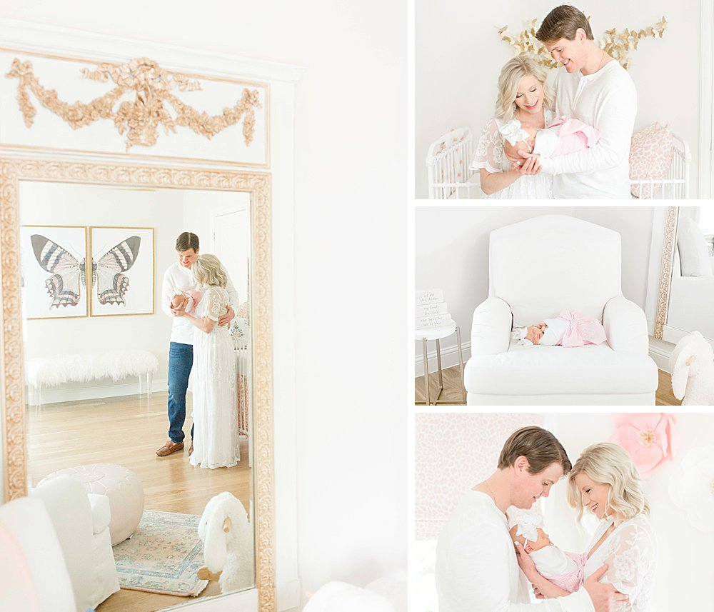 Lifestyle Newborn Session I Mom and dad with baby girl in nursery