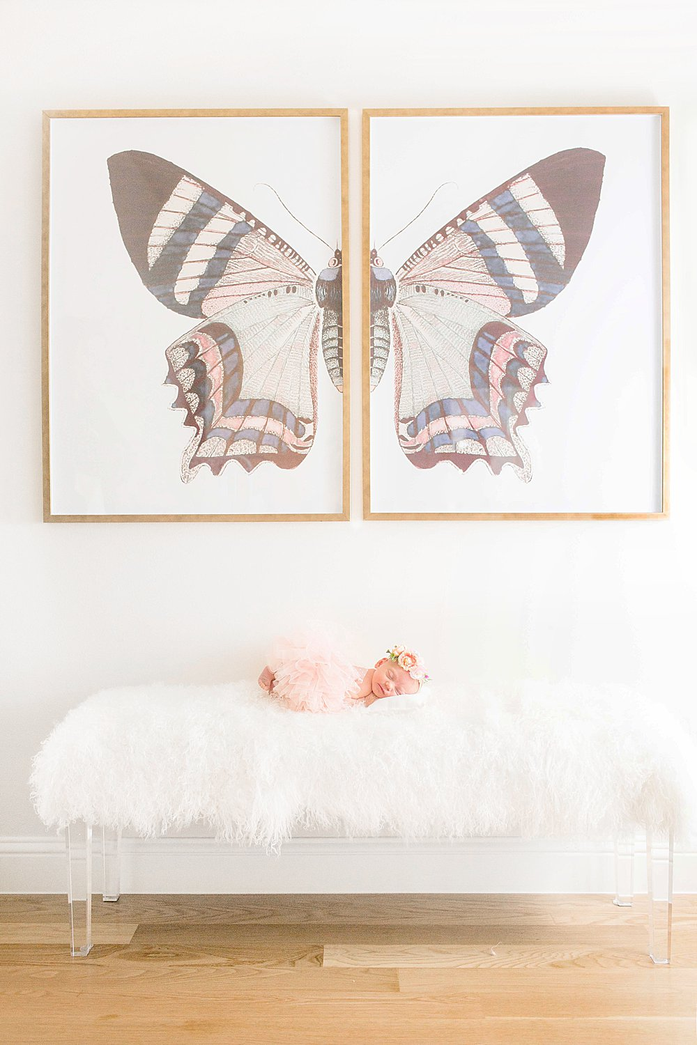 Baby girl with Restoration Hardware Butterly Print