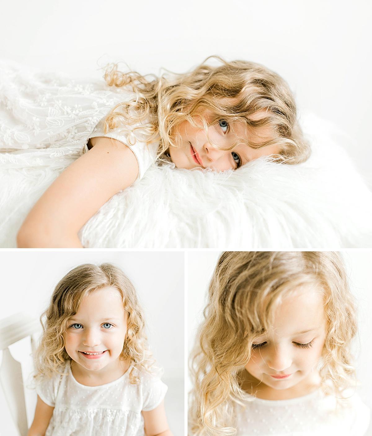 Toddler girl in white dress