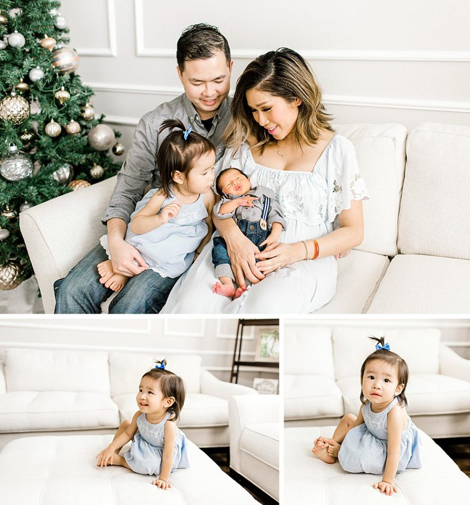 Dallas Lifestyle Newborn Photography with Christmas Decorations