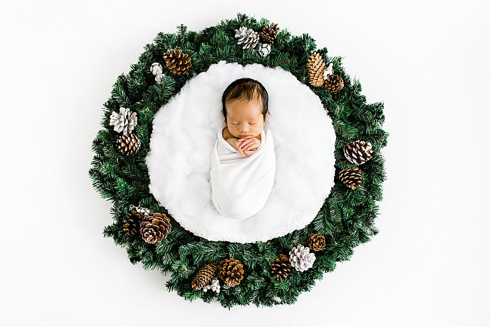 Baby boy newborn photo with Christmas Wreath