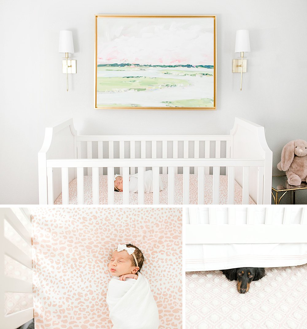 Crib with painting above it