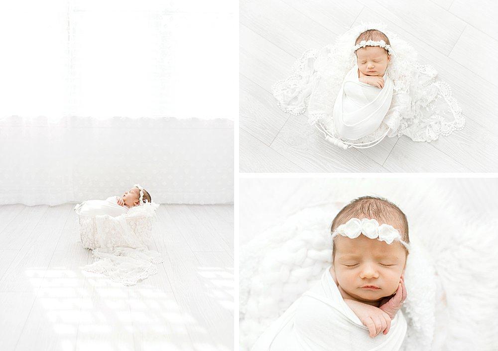 White studio newborn photography